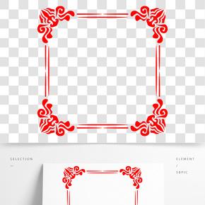 紅色傳統矢量海報邊框標題框文字框
