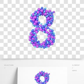 C4D氣球立體數字8