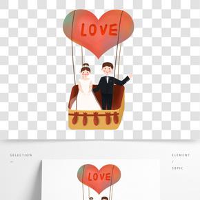 春季坐熱氣球旅行的結婚情侶免摳圖