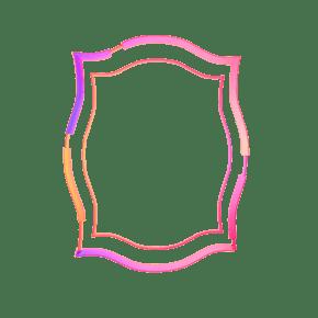 桃粉色立体简约边框创意
