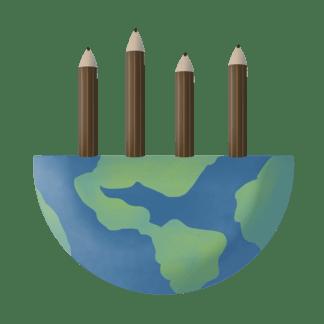 半個地球和鉛筆插畫