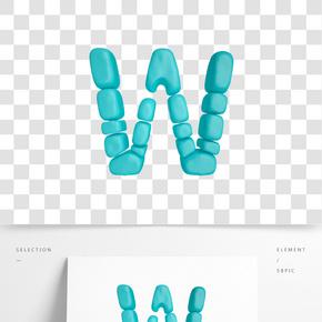 C4D柔體泡沫立體字母W元素