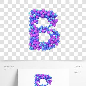 C4D氣球立體字母B元素