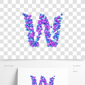C4D氣球立體字母W元素