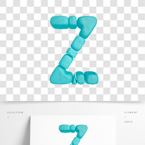 C4D柔體泡沫立體字母Z元素