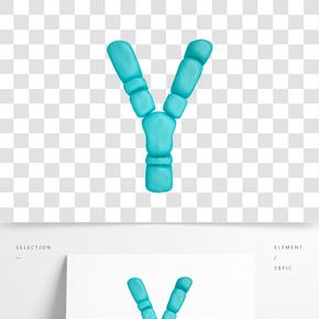 C4D柔體泡沫立體字母Y元素