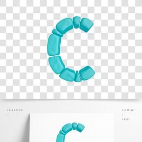 C4D柔體泡沫立體字母C元素
