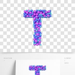 C4D氣球立體字母T元素