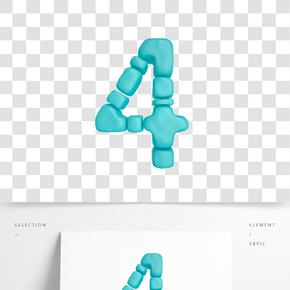C4D柔體泡沫立體數字4元素
