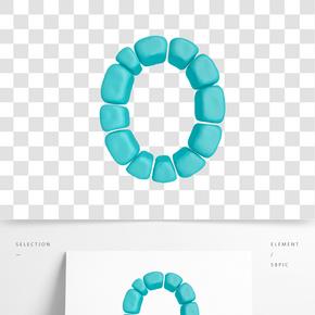 C4D柔體泡沫立體字母O元素