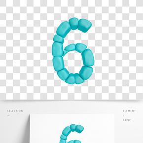 C4D柔體泡沫立體數字6元素