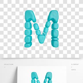 C4D柔體泡沫立體字母M元素