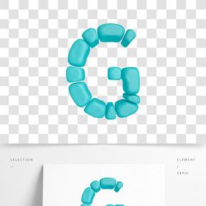 C4D柔體泡沫立體字母G元素