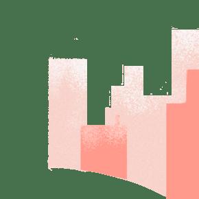 卡通粉红色的城市免抠图