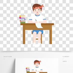 高考沖刺努力學習的男生免扣圖