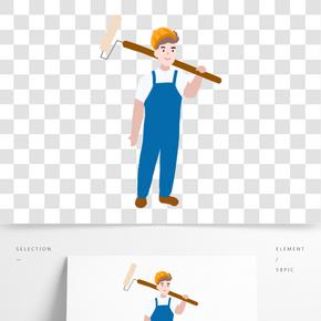 工人拿涂料工具的小清新男生免摳圖
