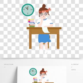 高考努力學習做作業的女生免扣圖
