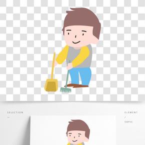 工人Q版清潔環衛形象免摳圖