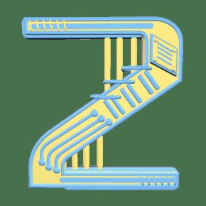 C4D撞色立体装饰数字二
