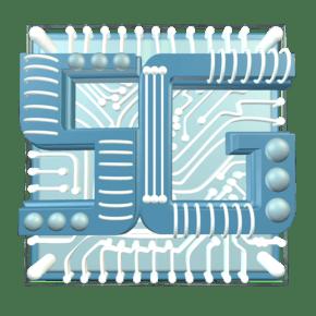 立体C4D科技感蓝色高科技5G芯片