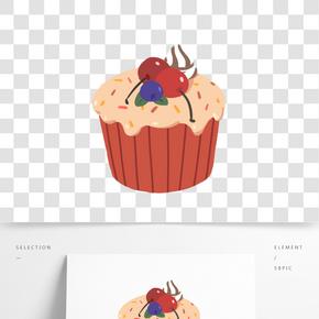 紅色杯子蛋糕插畫