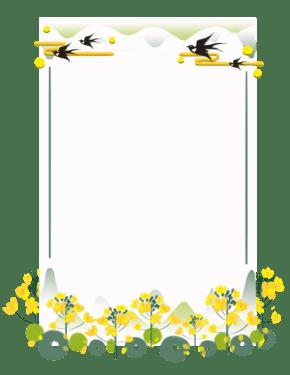 春季绿植远?#25509;?#33756;花燕子矩形边框