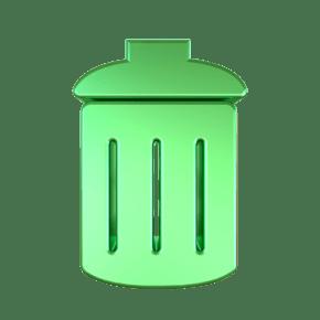 C4D绿色金属质感垃圾桶立体图标