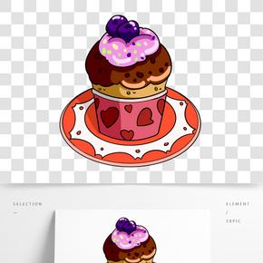 巧克力藍莓蛋糕插畫