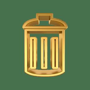 C4D金属质感垃圾桶立体图标