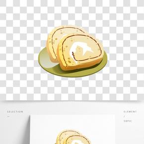 奶油切片蛋糕卷插畫