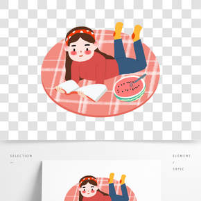 世界讀書日地毯上讀書的女生免摳圖