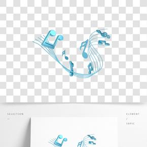 C4D青色金屬質感五線譜音符裝飾