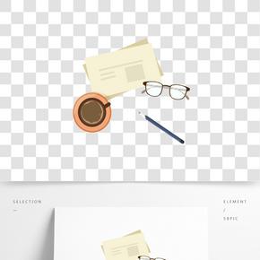 新聞咖啡眼鏡裝飾插畫