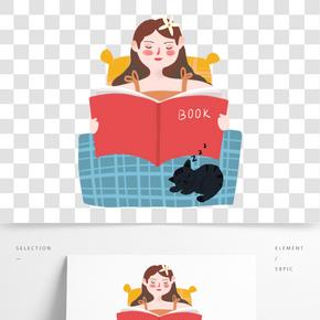 世界讀書日睡前讀書的小女孩免扣圖