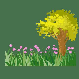 春天<i>樹</i><i>木</i>發芽插畫