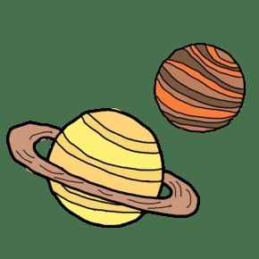 黄色手绘可爱卡通土星行星月球卡通矢量图案