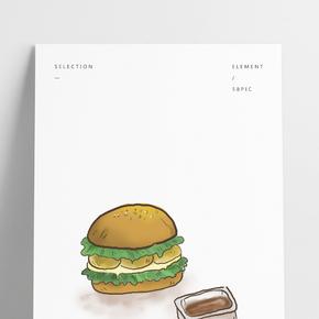 快餐漢堡包和漢堡醬