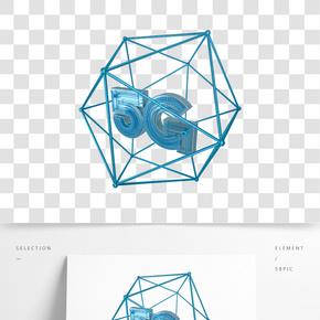 C4D青色高科技立體5G裝飾