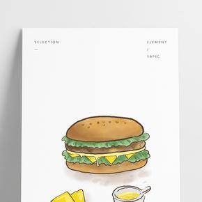美食快餐芝士漢堡