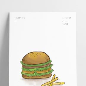 美食漢堡包和薯條