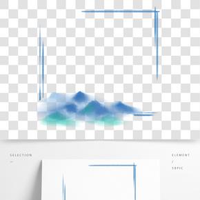 藍色山丘邊框插圖