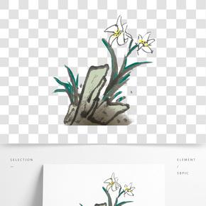 水墨中國風水仙花插畫