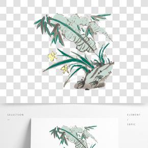國畫水仙花素材插畫