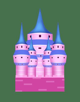 紫色城堡卡通插画