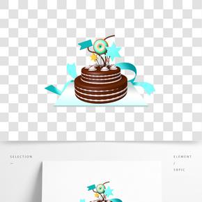 生日蛋糕巧克力彩帶棒棒糖免摳素材