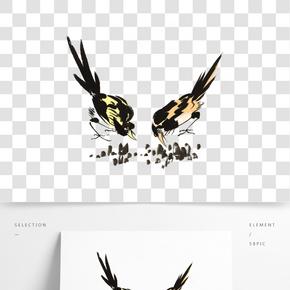 水墨花鳥插畫素材