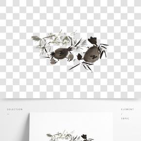 水墨螃蟹插畫素材