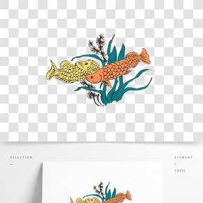 國畫水墨魚插畫素材