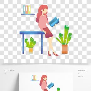 藍色辦公桌子插畫