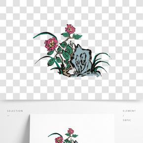 水墨牡丹插畫素材